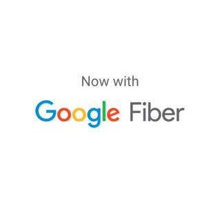 Now with Google Fiber white logo for Irvine Company Office Properties.