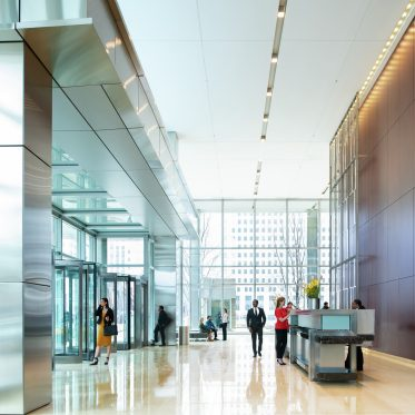 Lifestyle photography of the lobby at 300 North LaSalle in Chicago, IL