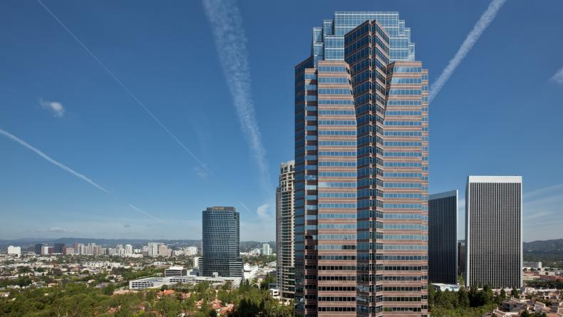 General views of Fox Plaza Office tower and surroundings in Los Angeles. RMA Photography 2010.