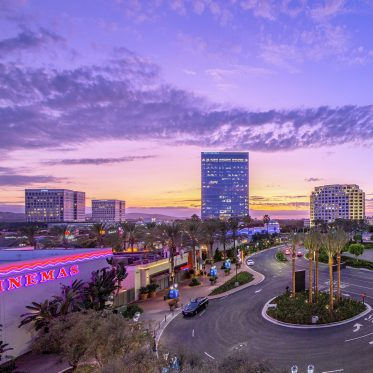 Photography of the building exteriors of 400 Spectrum Center, 300 Spectrum Center and 200 Spectrum Center as part of the Spectrum Skyline in Irvine, CA