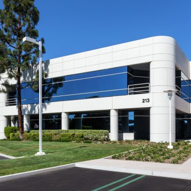 Exterior views of 213 Technology Drive office building at Freeway Technology Park in Irvine Spectrum 3. RMA Photography 2015.