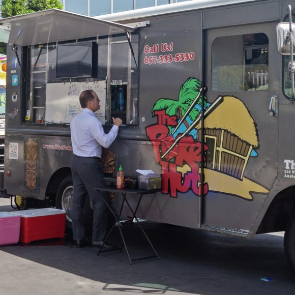 Photography of food trucks at The Quad - Discovery Park in Irvine, CA