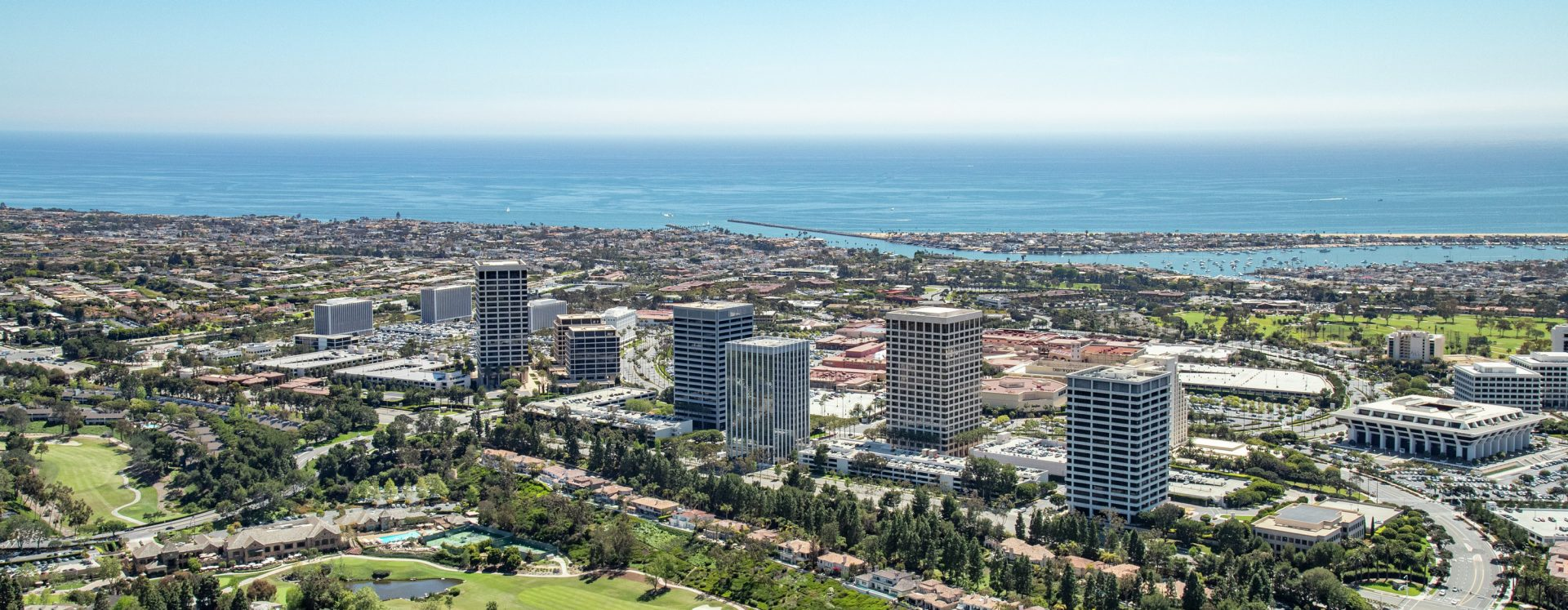Aerial photography of Newport Center in Newport Beach, CA