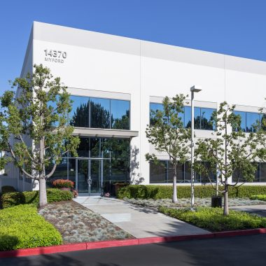 Exterior views of 14410 Myford Road office building at Jamboree Business Park in West Irvine. RMA Photography 2015.