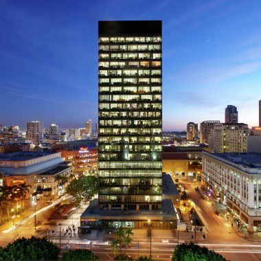 Evening view of 225 Broadway office tower in San Diego.  Akerlund 2008.