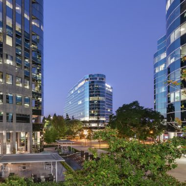 General views of Executive Square office towers at University Towne Centre in San Diego. RMA Photography 2012.
