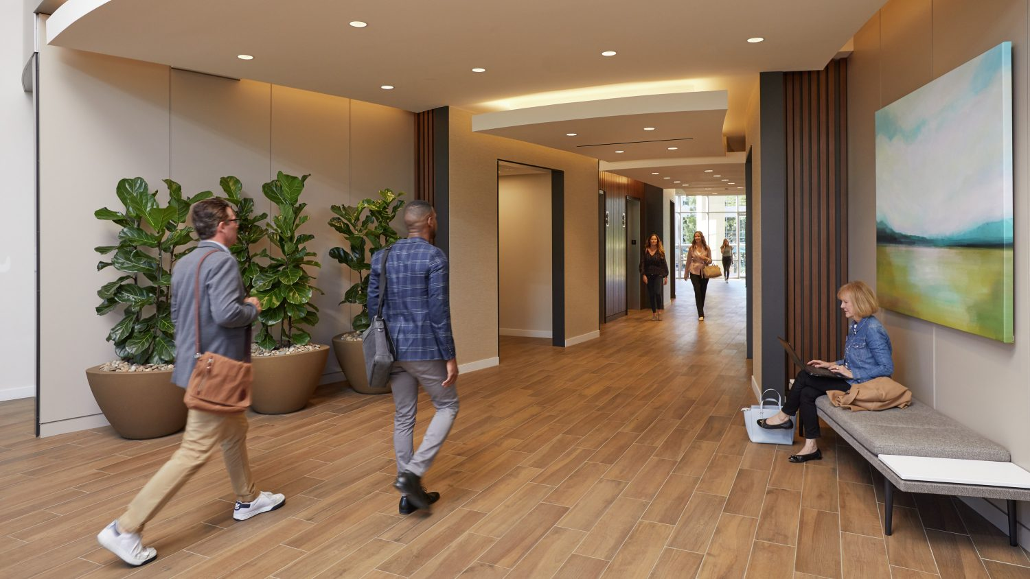 Interior lobby rendering of 4445 Eastgate Mall at La Jolla Reserve in San Diego, CA