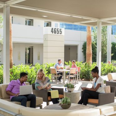 Outdoor workspace area of One La Jolla Center, San Diego, California