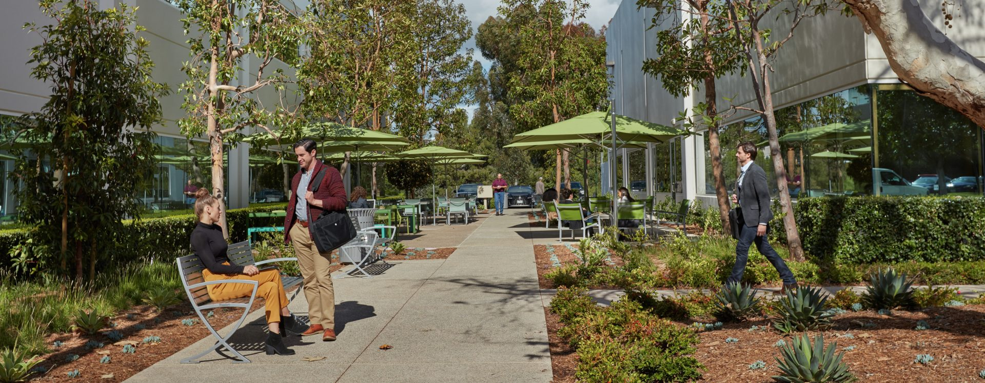 Lifestyle photography of the outdoor reinvestment at Canyon Ridge Technology Park in San Diego, CA