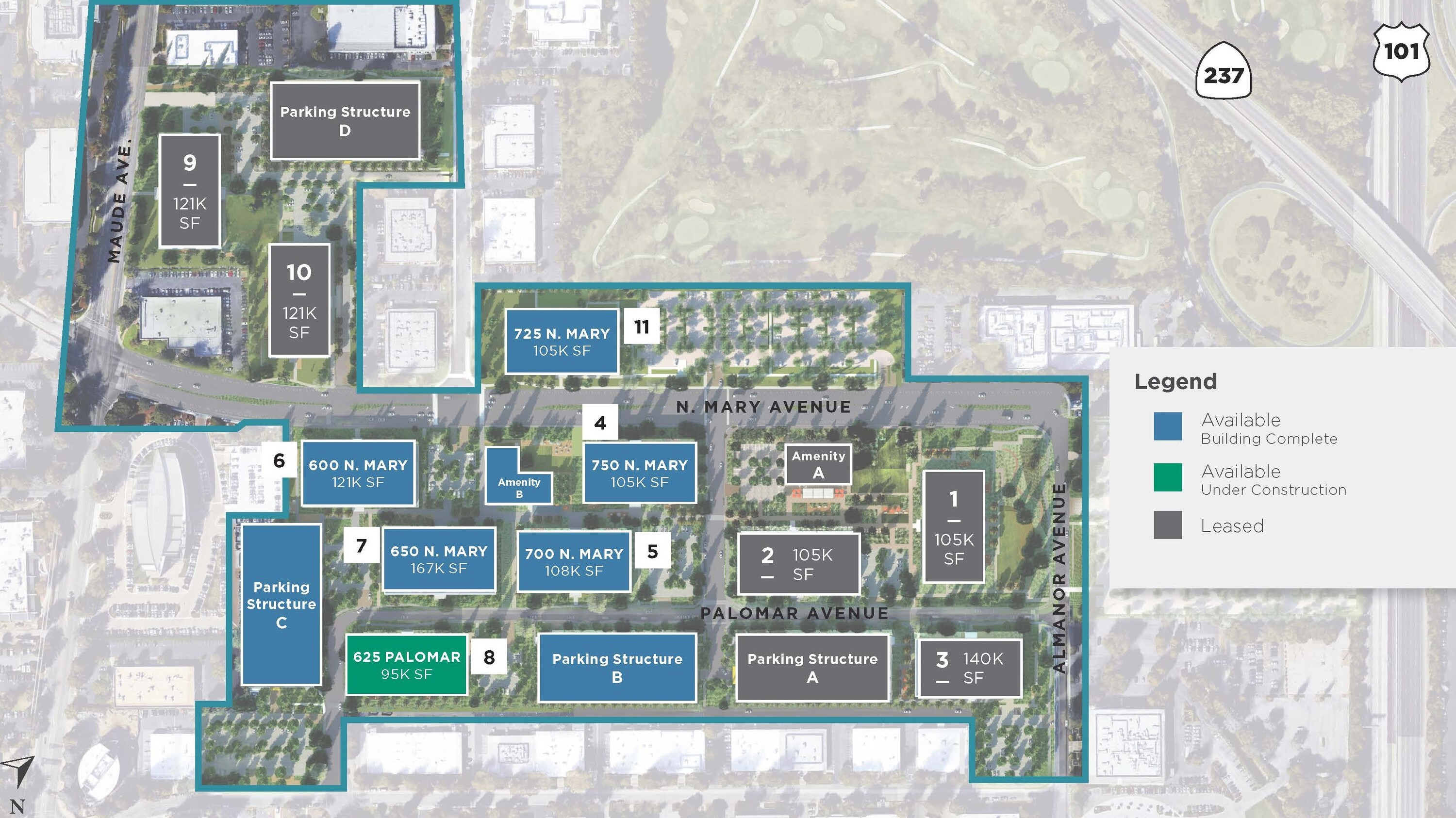 Site Map of Pathline Park in Sunnyvale, CA