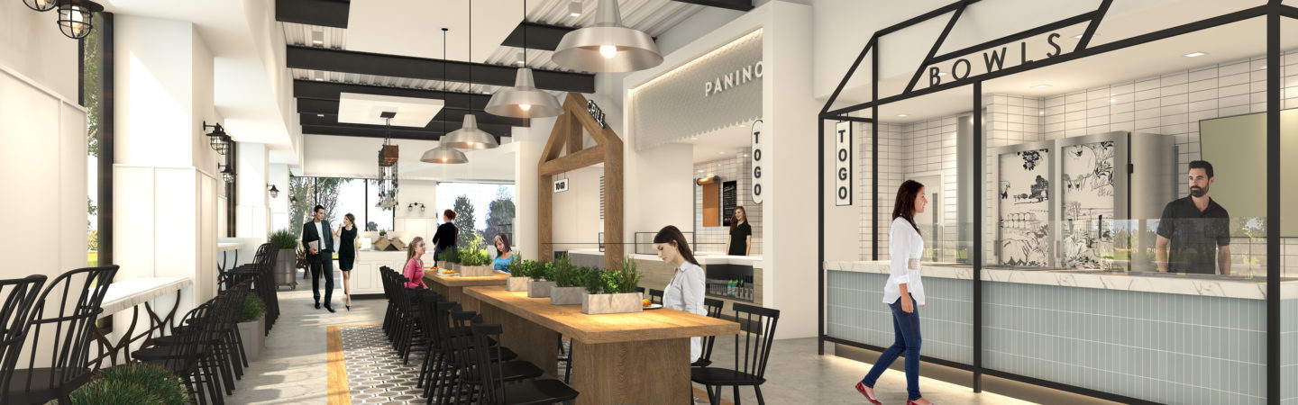 Rendering of Herb & Ranch, an upcoming dining option for customers at UCI Research Park in Irvine, CA
