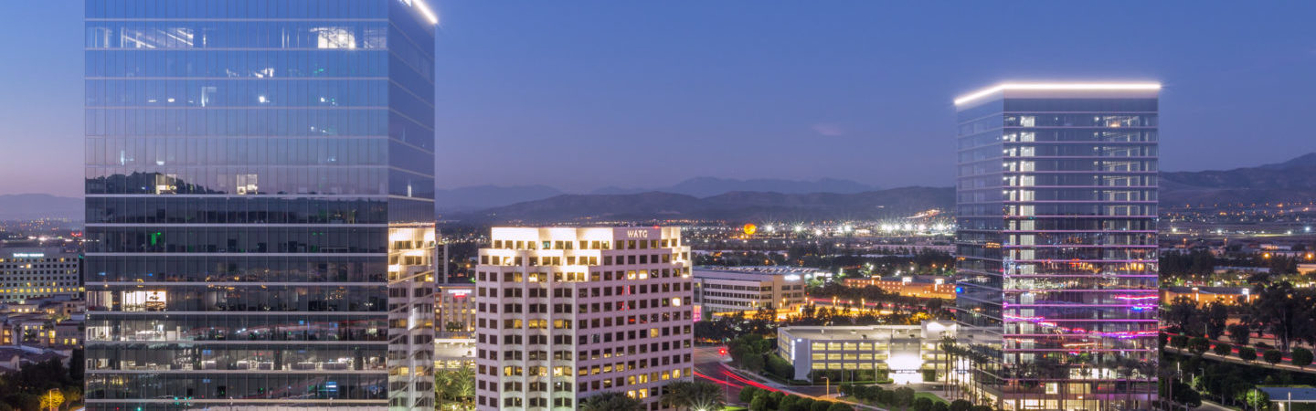 Aerial photography of the Spectrum Skyline®featuring the 200, 300, and 400 Spectrum Center buildings in Irvine, CA