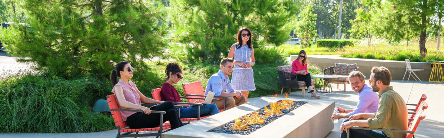 Lifestyle photography of The Commons firepit at UCI Research Park in Irvine, CA