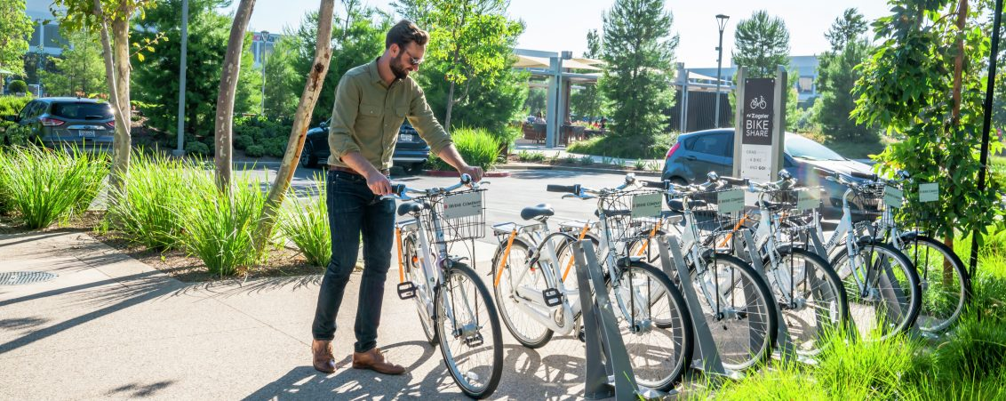 Lifestyle photography of the Zagster bike share program at UCI Research Park in Irvine, CA