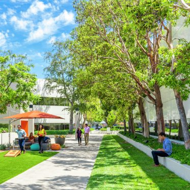 Lifestyle photography of The Commons near 20 and 28 Executive Park at Venture Park in Irvine, CA