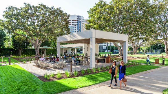 Lifestyle photography of the Commons at 3 Park Plaza, Jamboree Center, Irvine, Ca