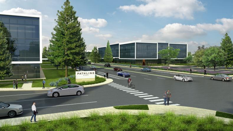 Rendering of buildings at Pathline Park in Sunnyvale, CA
