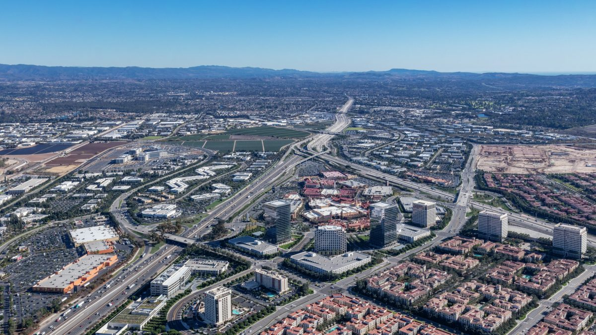 Aerial photography of the Spectrum Skyline in Irvine, Ca